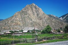 Small village in Altai Mountains, Russia Royalty Free Stock Photo