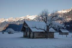 Small village and amazing mountain scenery near Interlaken, Switzerland Royalty Free Stock Image