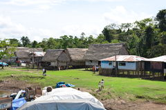 Small village of the Amazon jungle, Peru. One of the many peruvian villages near to the Amazon river, in Peru royalty free stock photos