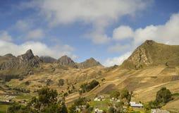 Small village, Andean mountains, ecuador. Small village and farms amongst high andean mountains in ecuador royalty free stock photos