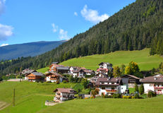 Small village in  autumn alps  mountains Stock Image