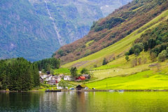 Small village at the banks of the Aurlandsfjord Royalty Free Stock Photos
