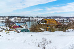 Small village on banks of river Volga, Russia. The small village on the banks of the river Volga, Russia Royalty Free Stock Image