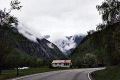 Small village in beautiful mountain. In Norway Royalty Free Stock Images