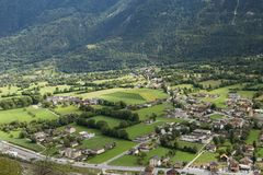 Village in Swiss. Small village below the Alps, canton Valais, Switzerland royalty free stock images
