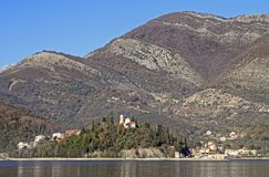 Small village Bijela on bay of Tivat. Montenegro royalty free stock photo