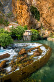 Small village Blagaj on Buna spring. And waterfall in Bosnia and Herzegovina Royalty Free Stock Photography