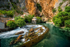 Small village Blagaj on Buna spring. And waterfall in Bosnia and Herzegovina Royalty Free Stock Image