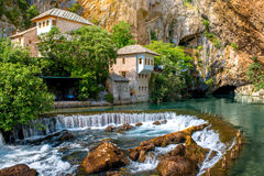 Small village Blagaj on Buna spring. And waterfall in Bosnia and Herzegovina Royalty Free Stock Photos