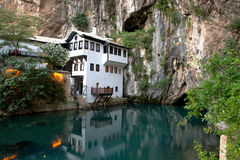 Small village Blagaj on Buna spring and waterfall in Bosnia and Herzegovina stock images