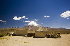 Small village in bolivia near volcano Sajama Royalty Free Stock Images
