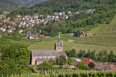 Small village with church Royalty Free Stock Images