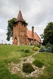Small village church on hill Stock Image