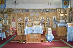 Interior of a village church. Russia. Siberia stock photo