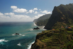 Small village at coast of madeira, portugal Royalty Free Stock Photography