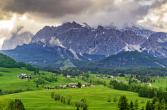 Small village in the Dolomite, Italy Stock Image