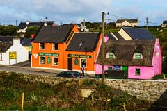 Small village of Doolin with craft shop, Ireland stock image