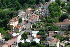 Small village in Europe with clustered houses Stock Photos