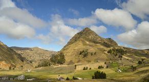 Inhabiting, Andean mountains, ecuador. Small village and farms amongst high andean mountains in ecuador royalty free stock images