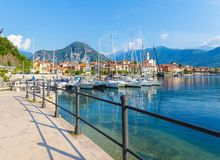 Feriolo its harbor, located on Lake Maggiore, Piedmont, Italy. stock image
