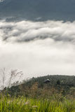 The small village in fog, some where near Dalat, Vietnam Royalty Free Stock Photo