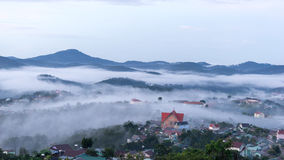 The small village in fog, somewhere near Dalat, Vietnmam. The small village in fog, some where near Dalat, Vietnam- DALAT Royalty Free Stock Photos