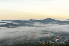The small village in fog, somewhere near Dalat, Vietnmam. The small village in fog, some where near Dalat, Vietnam- DALAT Royalty Free Stock Photography