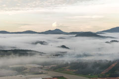 The small village in fog, somewhere near Dalat, Vietnmam. The small village in fog, some where near Dalat, Vietnam- DALAT Stock Image