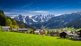 Small village Gosau in Austrian Alps at spring. Europe Stock Photos