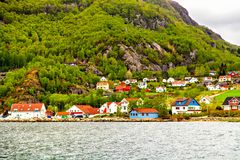 The small village on hill in forest, Norway Royalty Free Stock Images