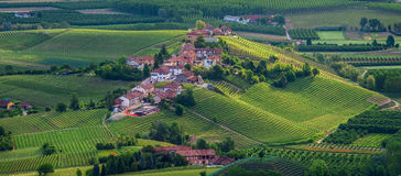Small village on the hill in Piedmont, Italy. Royalty Free Stock Images