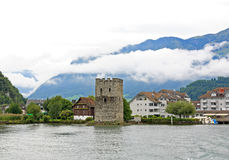 The small village on the hills around Lake Luzern Royalty Free Stock Photo