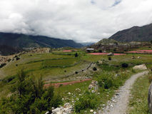 Small Village in a Himalayan Landscape Stock Photography