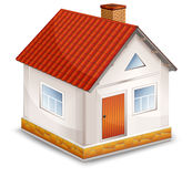 Small village house isolated. Small village house with window door and red roof illustration royalty free illustration