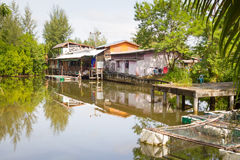 Small village house at the water. In Thailand Royalty Free Stock Images