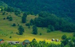 Small village houses near Tara river gorge canyon, Montenegro stock photography
