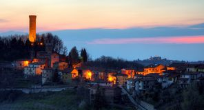 A small village in Italy - Langhe, Castellino Tanaro Stock Photo