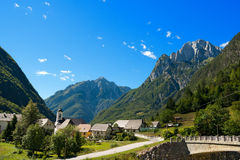 Small Village and Julian Alps - Slovenia Royalty Free Stock Image