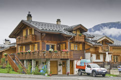 The small village of Le Praz. This image shows a view of a typical chalet in the Alps, in the village of Le Praz Stock Photos