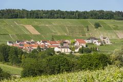 Leuvrigny Vineyards Champagne. The small village of Leuvrigny in Champagne near Epernay with vineyards, France Royalty Free Stock Images