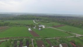 Small village with low houses near the forest. Aerial view stock footage