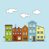 Small village main street buildings colorful facades Royalty Free Stock Photo