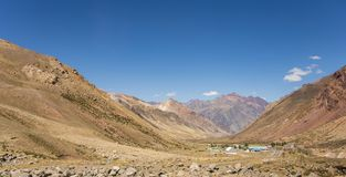 Big valley in the andes with houses stock photography