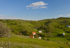 A small village in Montenegro. A landscape with small village in the hills, Montenegro, Komarnica plato Stock Photos