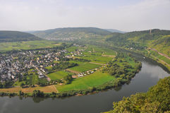 Small village on mosel river, germany, fom top Stock Photography