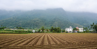 Small village with mountain background in Hualien, Taiwan Royalty Free Stock Photo