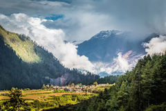 Small village in the mountains, at Annapurnas. Nepalese village at Annapurnas circuit, Himalaya, Nepal Stock Photos
