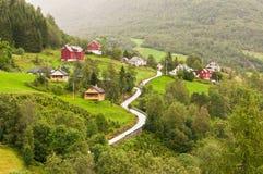 Small village of Naeroydalen valley - Sognefjord Stock Photos