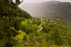 Small village of Naeroydalen valley - spruce left foreground Stock Photo