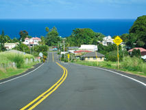 Small village near ocean in Big Island, Hawaii. The beautiful scenery of land and cean. Small village near ocean in Big Island, Hawaii Stock Image